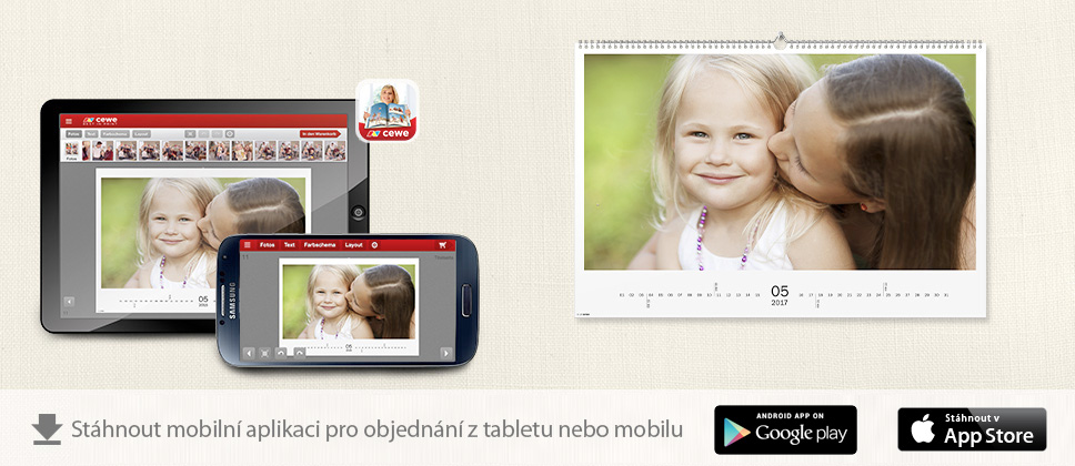 CEWE kalendáře z tabletu nebo mobilu