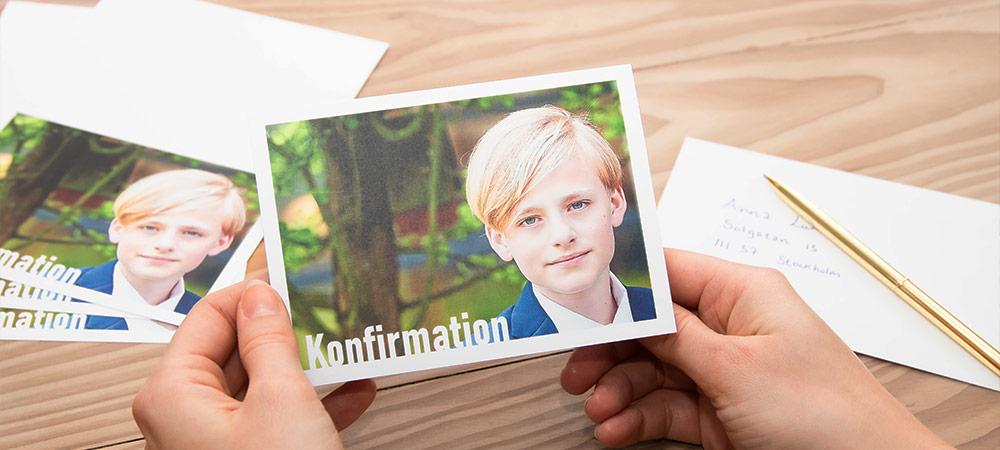 Kort og invitationer til konfirmationen