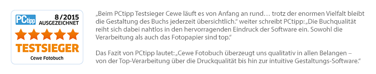 Testsieger CEWE FOTOBUCH - ausgezeichnet von PCtipp