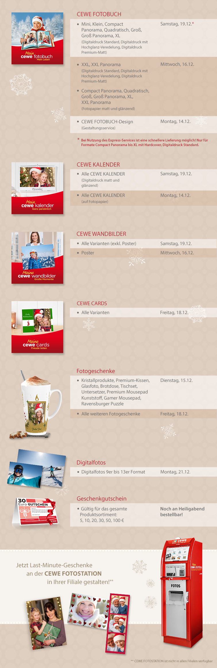 Unsere Bestellfristen zu Weihnachten