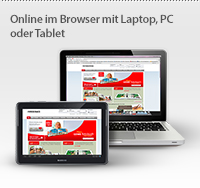 Online im Browser mit Laptop, PC oder Tablet