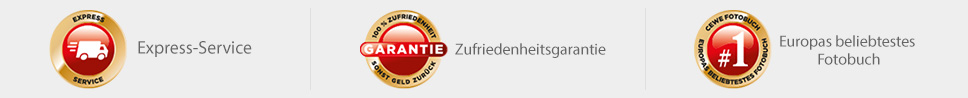 CEWE Express Service; Zufriedenheitsgarantie; Europas beliebtestes Fotobuch