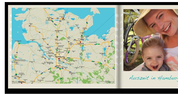Zkrášlite vašu CEWE FOTOKNIHU: Mapou, ktorá napríklad ukazuje vašu dovolenkovú destináciu.