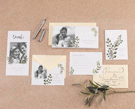 Handgemalte Blätter statt Blumen zur Hochzeit