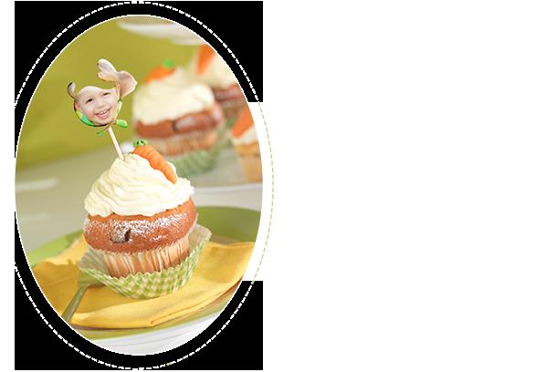 Karotten-Cupcake mit Fotostickern