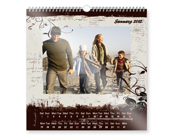 SQUARE WALL CALENDAR ON PHOTO PAPER
