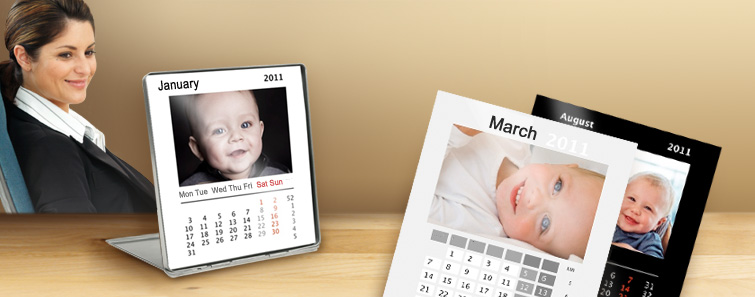 Standing Desktop Calendar on Photo Paper