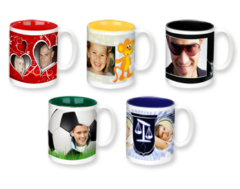 PHOTO MUG WITH COLOURED INTERIOR