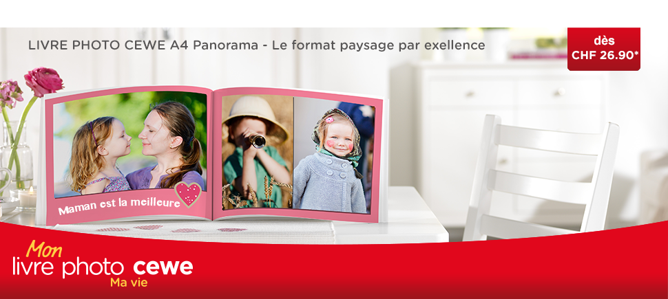 LIVRE PHOTO CEWE A4 Panorama: le grand classique au format paysage. Notre cadre spécial pour votre journée exceptionnelle!