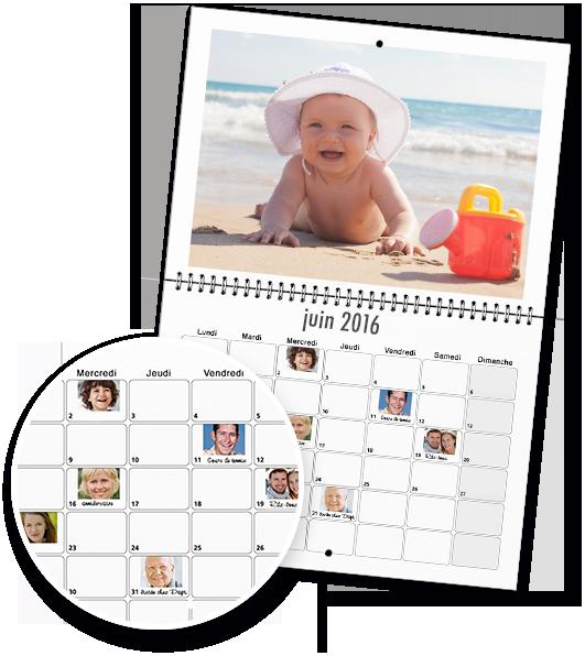 Textes et photos dans la grille du calendrier