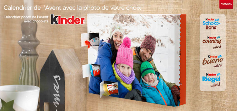 Calendrier photo de l'Avent chocolat avec les produits de Kinder®