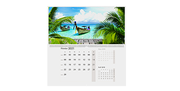CALENDRIER MURAL DOUBLE PAGE A2