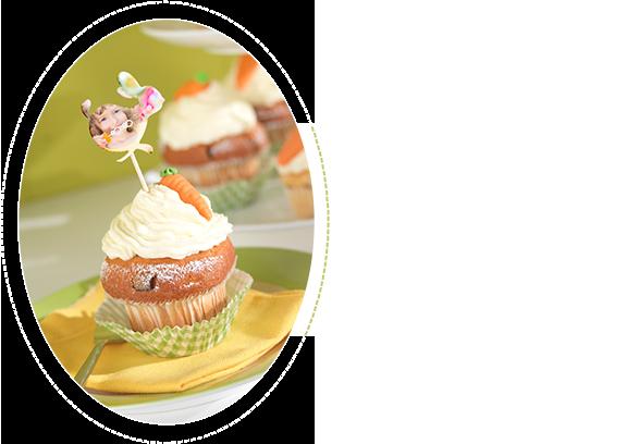 Cupcake aux carottes avec autocollants photo