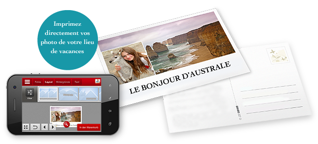 Carte postale avec l'appli UNIVERS PHOTO CEWE