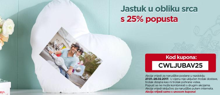 Jastuk u obliku srca s 25% popusta