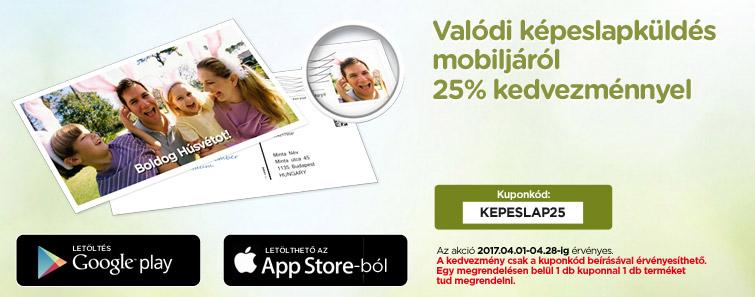 Valódi képeslap küldés mobiljáról 25% kedvezménnyel