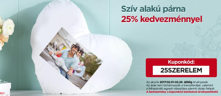 Szív alakú párna 25% kedvezménnyel