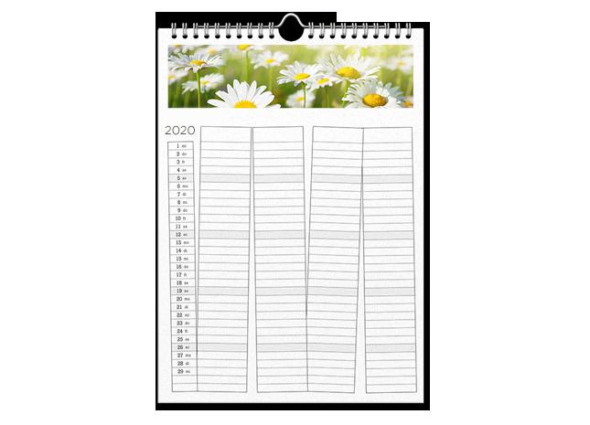 Családi képek és határidők A3 méretű naptár oldalakon