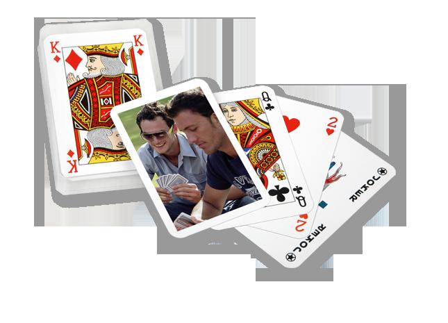 Póker kártya hátulján kedvenc fényképe szerepel