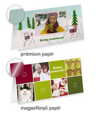 Hosszú oldalon hajtott üdvözlőkártya különleges designelemekkel
