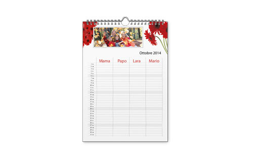 Informazioni calendario family A4