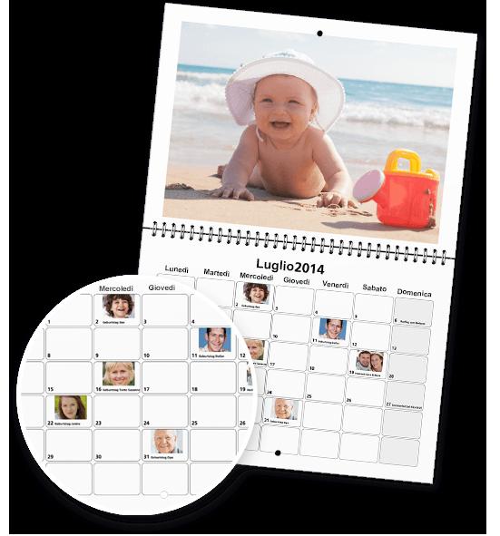 Testi e immagini nel calendario