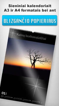 Kalendorius blizgančiame popieriuje