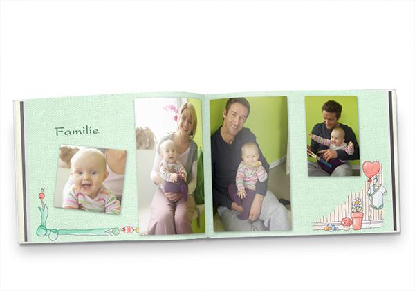 Fotoboek compact liggend met babyfoto's