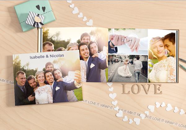 fotoboek xxl liggend met foto's van een huwelijk