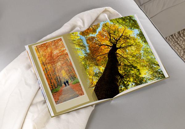 fotoboek xxl staand met foto's van de herfst