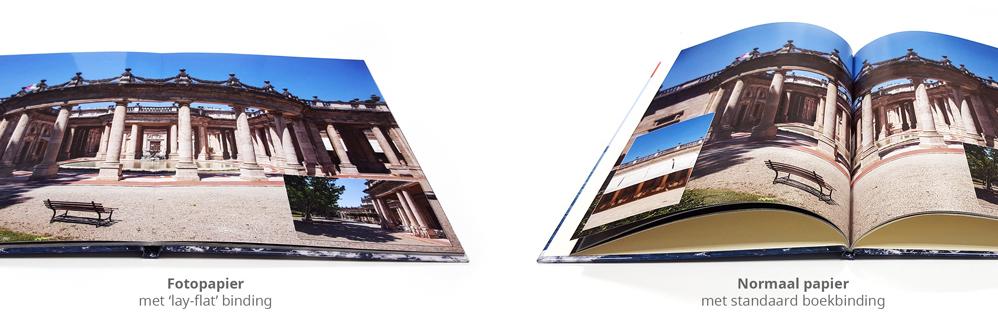 Fotoboek met normaal papier naast fotopapier