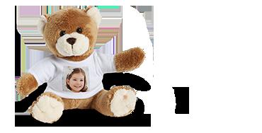Teddybeer met foto op shirt.