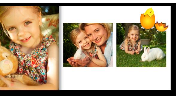 Een deel van onze CEWE FOTOBOEK software: talrijke suggesties die u zullen helpen bij het ontwerp van de pagina's.