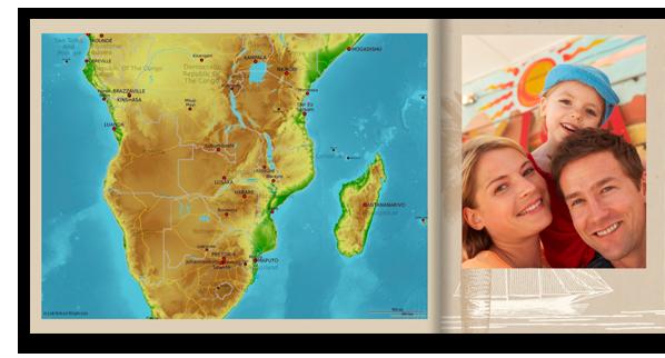 Een mooie aanvulling op uw CEWE FOTOBOEK: landkaarten die bijvoorbeeld je vakantiebestemming tonen.