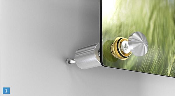 Schroefsysteem foto op aluminium
