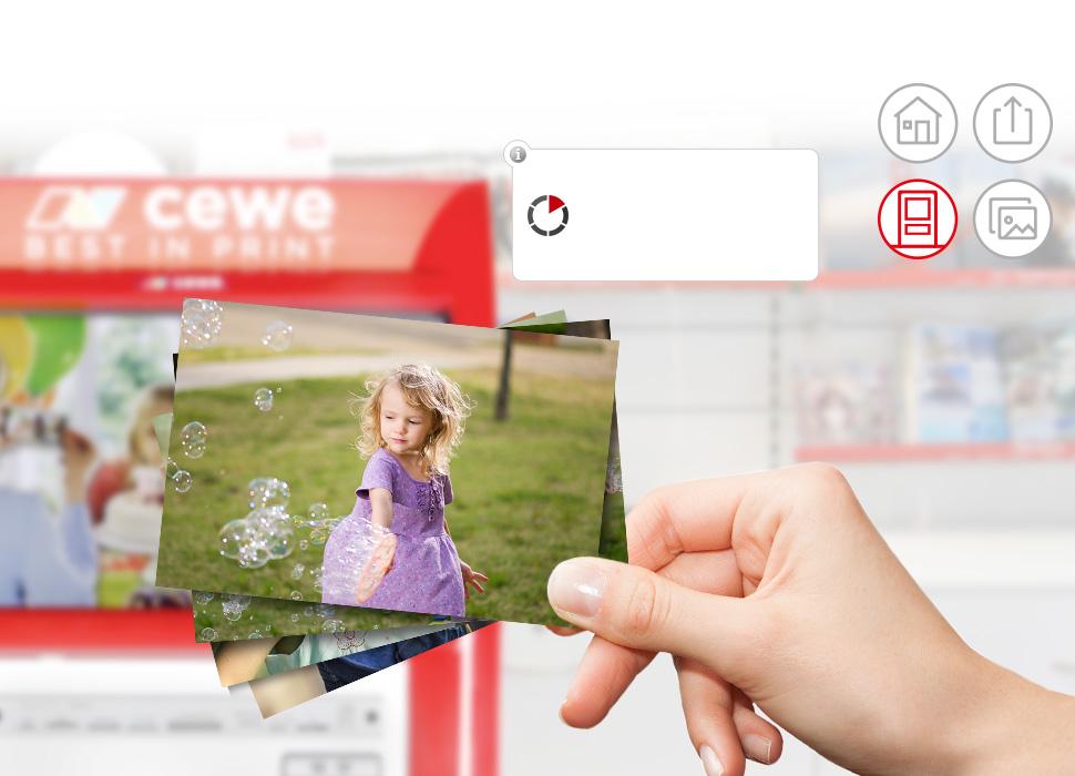 3. Rediger bildene ved CEWE FOTOSTASJONEN i butikken og trykk dem med en gang