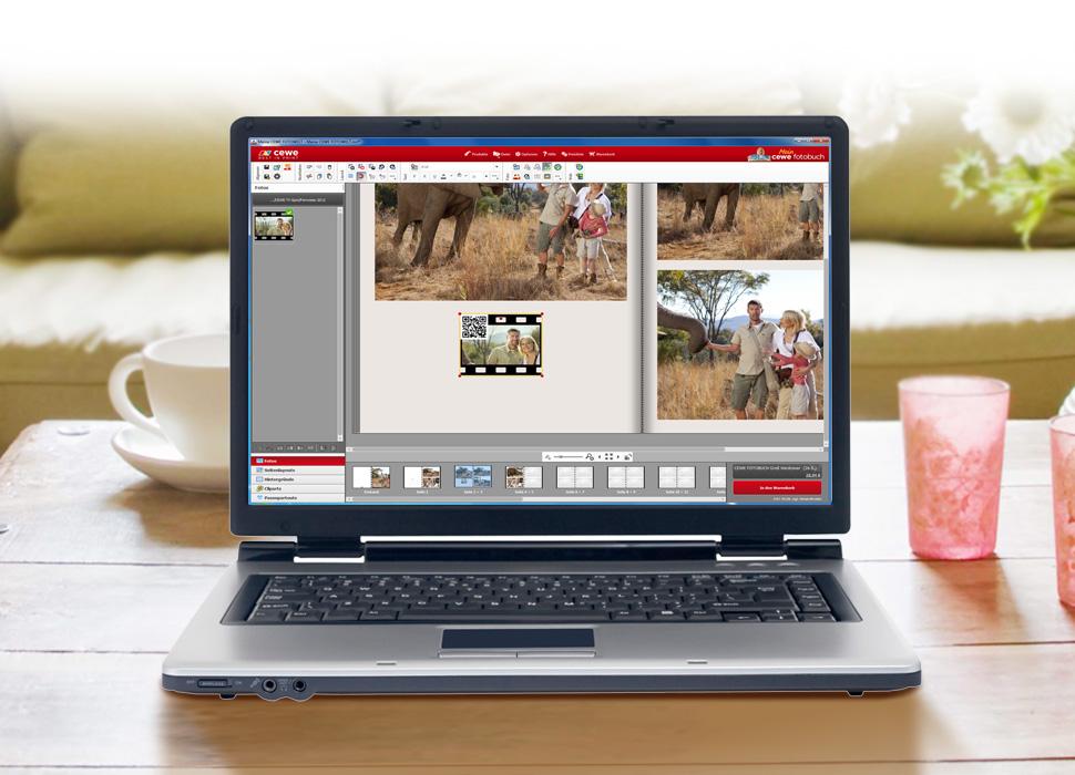 1. Klikk på den ønskede video og plasser den ved hjelp av musen i din CEWE FOTOBOK