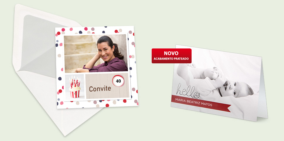 Convites, cartões de felicitação e muito mais