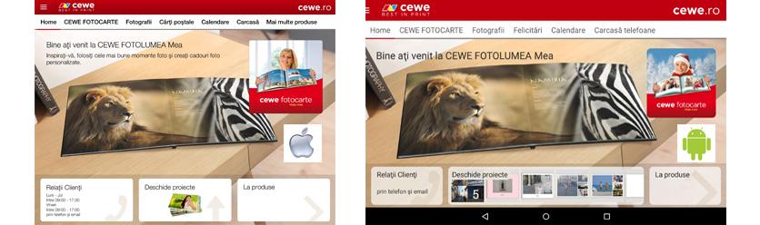 iOS & Android Aplicaţia CEWE FOTOLUMEA Mea
