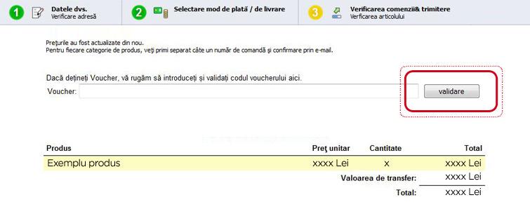 Validare cod voucher la comenzi trimise prin software de comandă