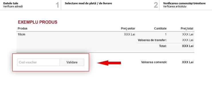 Introdu și validează codul de voucher