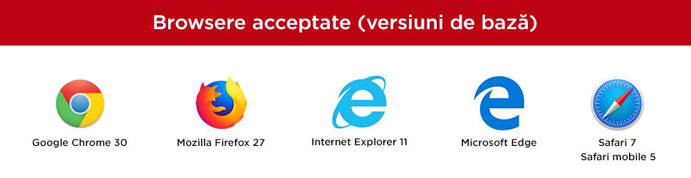 Browsere acceptate (versiuni de bază)