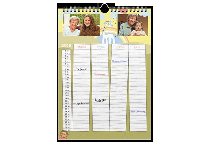 Calendar de familie A3 tip agendă cu propriile fotografii