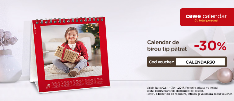 Personalizare online Calendar de birou tip pătrat cu poză - Cewe.ro