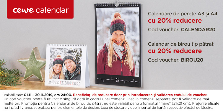 Calendare de perete A4 si A3, calendar de birou tip patrat -20%