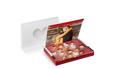 Valentínska bonboniéra s fotografiami a pralinkami Ferrero