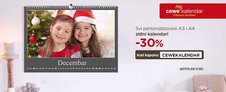A3 i A4 zidni kalendari sa 30% popusta