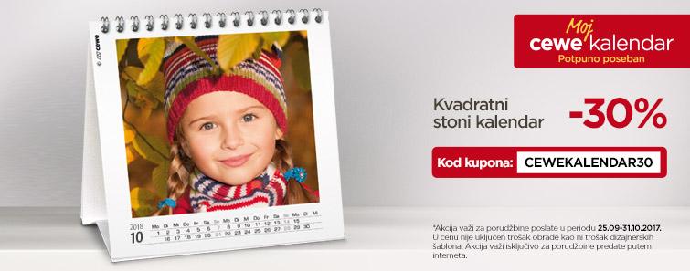 Kvadratni stoni kalendar s 30% popusta