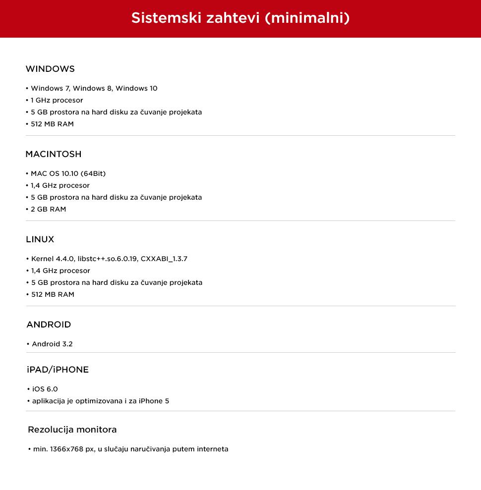 Sistemski zahtevi (minimalni)