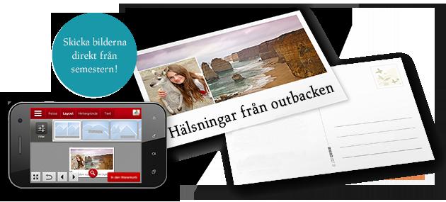 Vykort med CEWE FOTOVÄRLD-appen